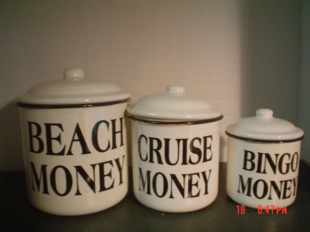 BLACK AND WHITE ENAMELWARE CANISTERS �Beach Money, Cruise Money, Bingo Money