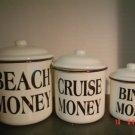 BLACK AND WHITE ENAMELWARE CANISTERS –Beach Money, Cruise Money, Bingo Money