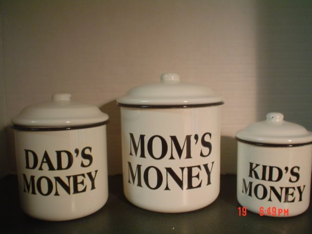 BLACK AND WHITE ENAMELWARE CANISTERS � Mom�s Money, Dad�s Money and Kids Money