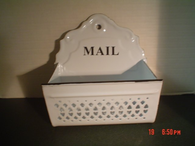 BLACK AND WHITE ENAMELWARE WALL MAIL HOLDER BIN