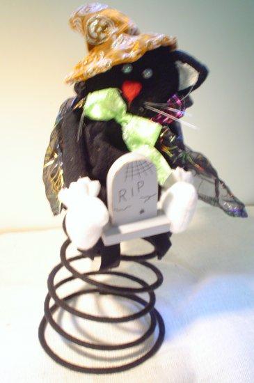 Cute Felt Halloween Black Cat on a Spring