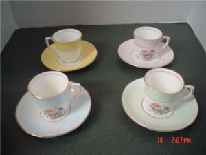 4 Colclougn China demitass size cups.