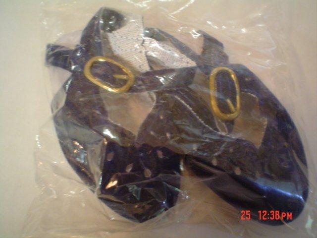 Dark Green Velveteen Doll Shoes - Sling Back - Size Four