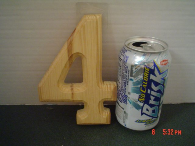 WOOD HOUSE NUMBER FOUR BEVELED - 6 INCH TALL
