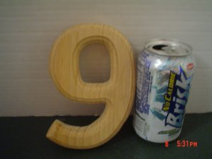 WOOD HOUSE NUMBER NINE BEVELED - 6 INCH TALL