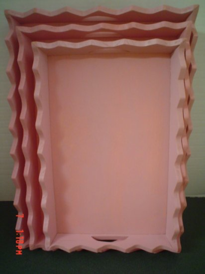 Set of Pretty Pink Trays - Paint or Display