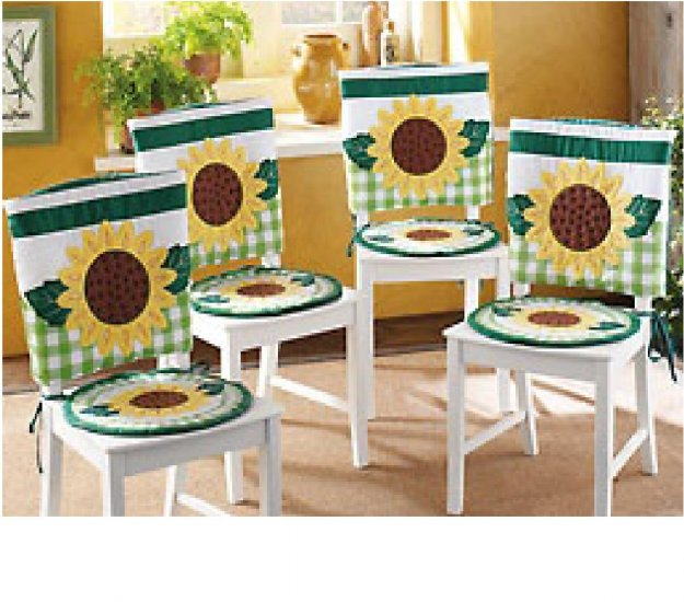 cute country sunflower kitchen seat cover set. Black Bedroom Furniture Sets. Home Design Ideas