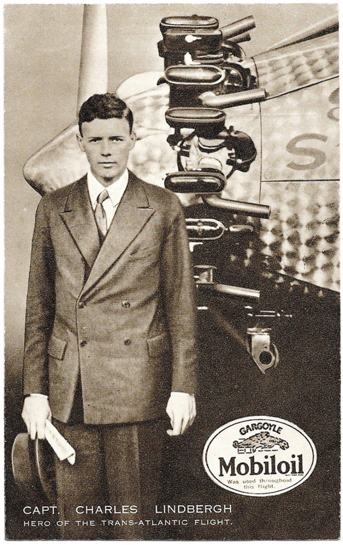 Charles Lindbergh Spirit of St Louis Mobiloil Advertising Postcard