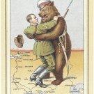 Adolf Hitler World War II Cartoon Postcard Russian Bear circa 1940's