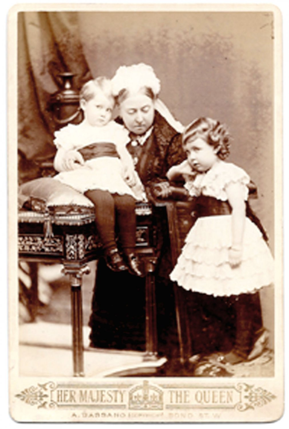 Queen Victoria Cabinet Photograph Seated with 2 Children