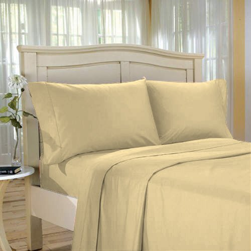 1500TC SOLID KING BED SHEETSET100%EGYPTIAN COTTON BEIGE