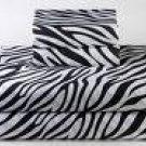 100% Egyptian Cotton, Color Zebra Print(Black & White) 1000 TC Queen Size Sheet Set.