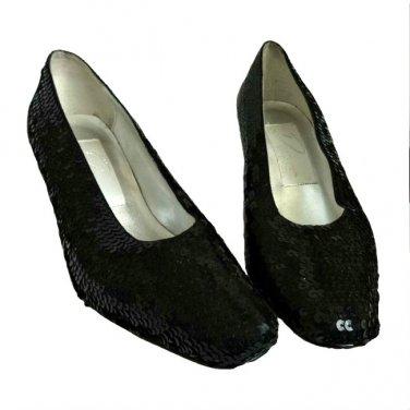 "Dolce by Pierre Women's Black Sequin 3"" Heel Classic Pump Shoe Size 6 1/2 Med"