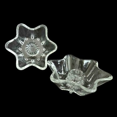 Vintage Clear Glass 6 Petal Flower Taper Candle Holders - Set of 2
