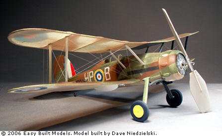 GLOSTER GLADIATOR Free Flight Rubber Power Airplane Kit