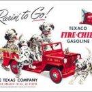 Texaco Fire-Chief Gasoline Fire Dogs Rarin' to Go! TIN SIGN