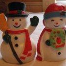 VINTAGE PLASTIC MR & MRS SNOWMAN SALT PEPPER S&P SHAKER