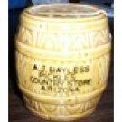 Half Barrel Adv Promo Salt & Pepper Shaker A.J. Bayless