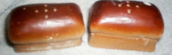 CERAMIC LOAF OF BREAD SALT & PEPPER MARKED U.S.A. ON BOTTOM