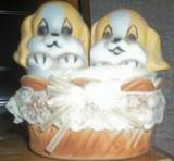 PUPPY DOG SALT & PEPPER SHAKER SET IN BASKET
