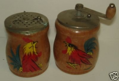 Wood, Handpainted, Salt and Pepper Shakers