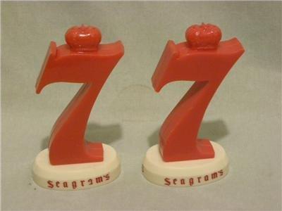 """SEAGRAMS 7"""" Vintage Salt & Pepper Shakers"""