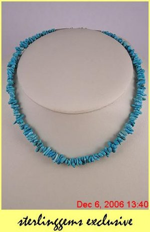 STERLING SILVER NAVAJO TURQUOISE NUGGET NECKLACE