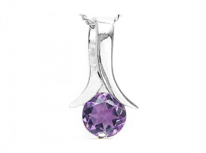 STERLING SILVER 0.85CTW AMETHYST PENDANT/NECKLACE