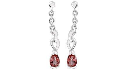 Sterling  Silver 1.00ctw Pear Cut Garnet Dangling Earrings