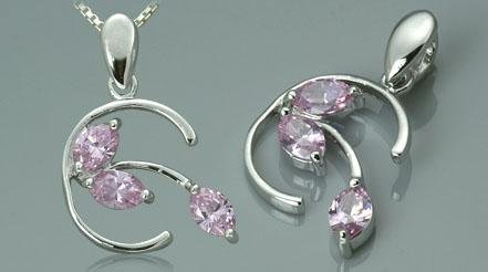 Sterling Silver 3 Stone Marquise Cut Pink CZ Pendant
