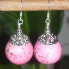HUGE SS. Genuine 17MM Pink Turquoise Howlite Earrings*DESIGNS by STERLING GEMS JEWELRY