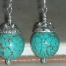 Sterling Silver 40CTW Genuine Round Turquoise Earrings*Designs by Sterling Gems jewelry*