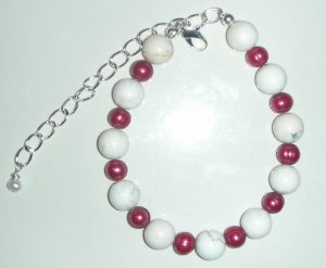 White Turquoise and FW Pearl Beads Bracelet