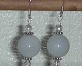 14KT GF Botswana Snow White Agate Swarovski Crystal Earrings