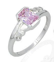 STERLING SILVER RADIANT CUT PINK CZ RING