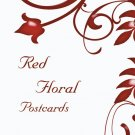 100 Red Floral Standard Postcards