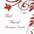 250 Red Floral Business Cards
