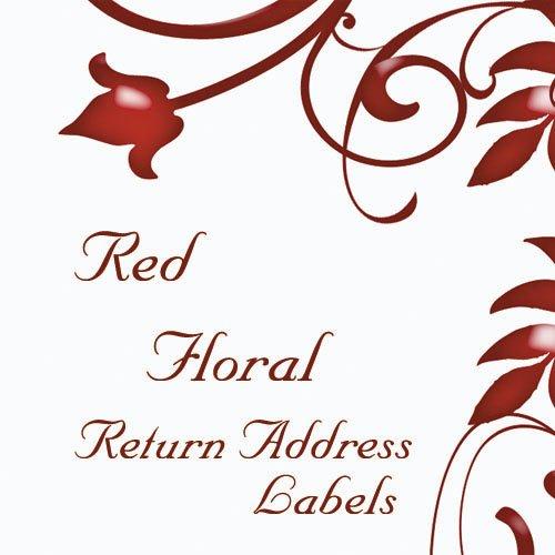280 Red Floral Return Address Labels