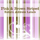 280 Pink and Brown Striped Return Address Labels