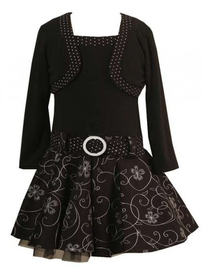 Rare Editions Black Embroidered Cardigan Dress Sz 7 NWT