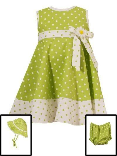 Rare Editions Lime Dotted Dress w/ Hat-Sz 18 months-NWT