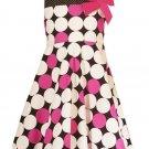 Rare Editions Fuschia/Black/Wh Dotted Dress-Sz 6X-NWT