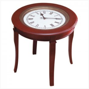 CLOCK TOP ROUND WOOD TABLE