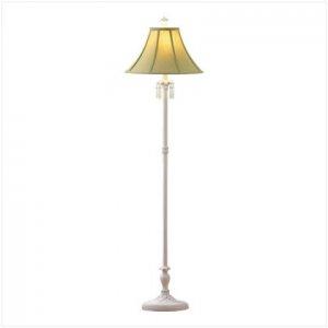 GREEN SHADE WHITE FLOOR LAMP