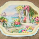 Vintage Large Metal Elite Trays UK Lady Veranda Water Flowers