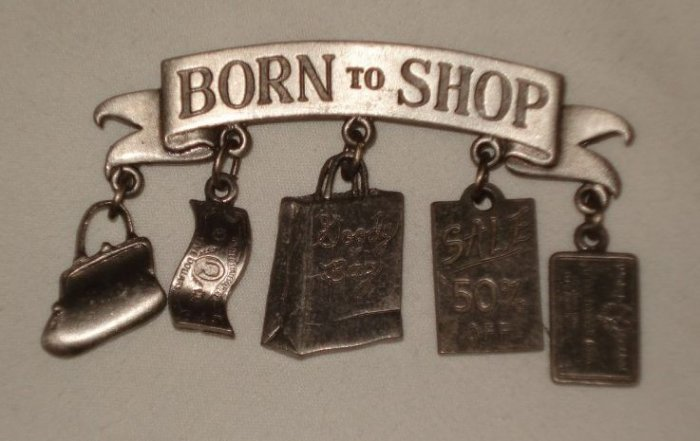 JJ Born to Shop Pewter Charm Brooch