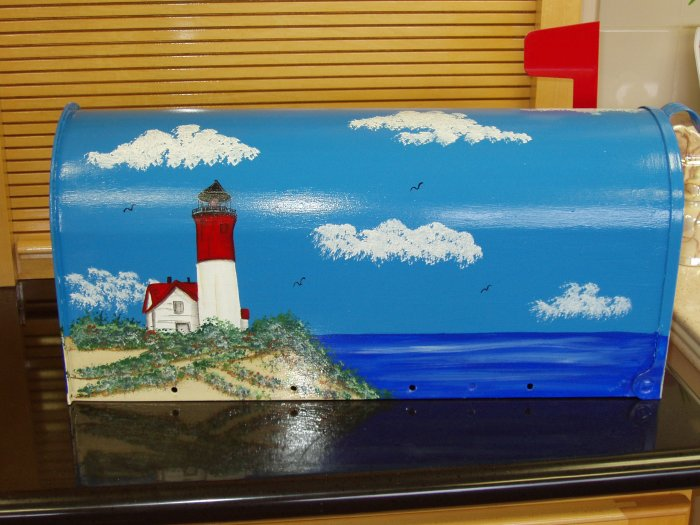 Hand Painted Mailbox Mailboxes With Lighthouse Design 20