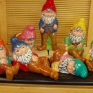 Hand Painted Ceramic Garden Gnomes Set of 7