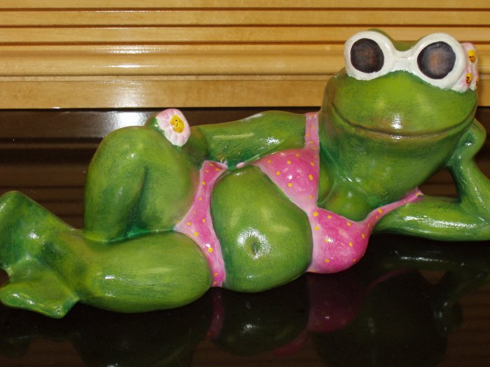 Ceramic Frog In Hot Pink Bikini For Your Garden Or Patio