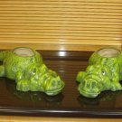 PAIR OF CERAMIC ALLIGATOR PLANTERS INDOOR OUTDOOR